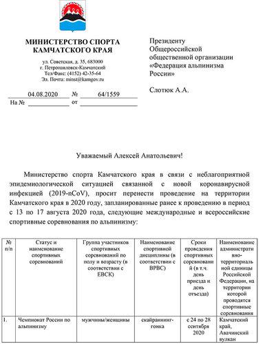 Перенос Чемпионата России по скайраннингу на Камчатке