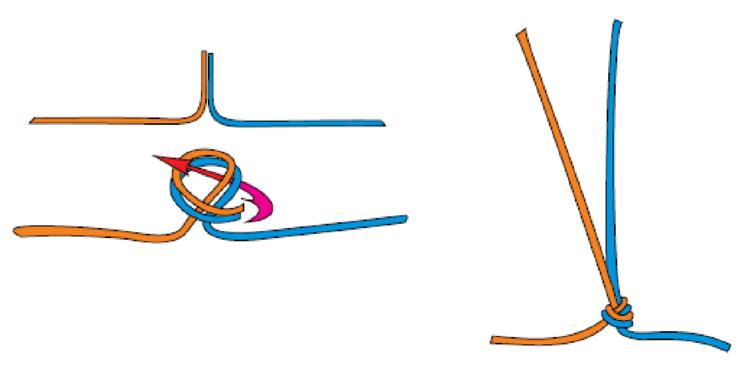 Восьмерка проводник стремя булинь uiaa грейпвайн плоский  Другие названия проводник флат оверханд дубовый узел Используется для организации спуска по двойной веревке при условии длины концов не менее 30